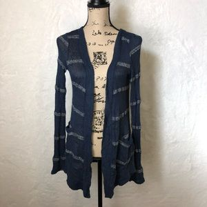 Splendid Striped Open Front Side Pocket Cardigan S
